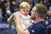 Stuart Hogg with daughter after the 2018 Autumn Test match between Scotland and Fiji at Murrayfield, Edinburgh, Scotland on 10 November 2018.