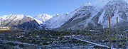Panoramic view of a suspension bridge on the Hooker Valley Track, Aoraki/Mt. Cook National Park, New Zealand.