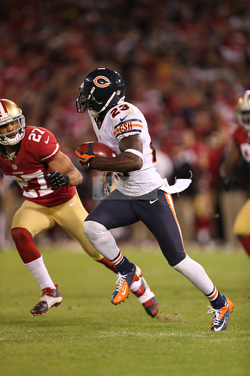 Chicago Bears wide receiver Devin Hester (23) in action against the San Francisco 49ers, during an NFL game on Monday Nov. 19, 2012 in San Francisco, CA.  (photo by Jed Jacobsohn)