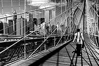 Brooklyn bridge with World Trade Towers. New York USA