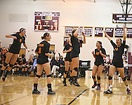 Solon's Kelsey Cave (6), Taylor Nearad (8), Jordan Smith (12), Emma Rickels (9), Kelsey Hinrichs (10), and Vik Meade (28) celebrate a score during the WaMaC Tournament semifinal game at Mount Vernon High School in Mount Vernon on Thursday October 11, 2012. Solon defeated Mount Vernon 26-24, 25-22.