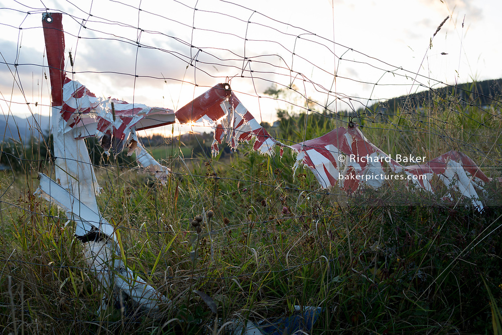 Torn sheeting on Polish agricultural land on 18th September 2019, Koscielisko, Zakopane, Malopolska, Poland.