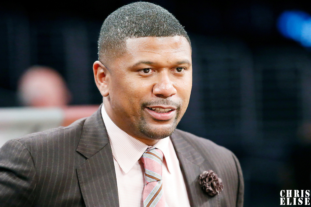 19 March 2014: ESPN sports analyst Jalen Rose is seen during the San Antonio Spurs 125-109 victory over the Los Angeles Lakers at the Staples Center, Los Angeles, California, USA.