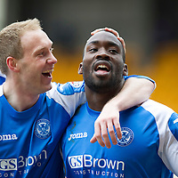St Johnstone v Kilmarnock.....09.03.13      SPL<br /> Gregory Tade celebrates his goal that made it 2-0 with Steven Anderson and David McCracken<br /> Picture by Graeme Hart.<br /> Copyright Perthshire Picture Agency<br /> Tel: 01738 623350  Mobile: 07990 594431