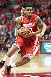 17 January 2015:  DeVaughn Akoon-Purcell wraps up Ka'Darryl Bell who is rushing towards the basket  during an NCAA MVC (Missouri Valley Conference men's basketball game between the Bradley Braves and the Illinois State Redbirds at Redbird Arena in Normal Illinois