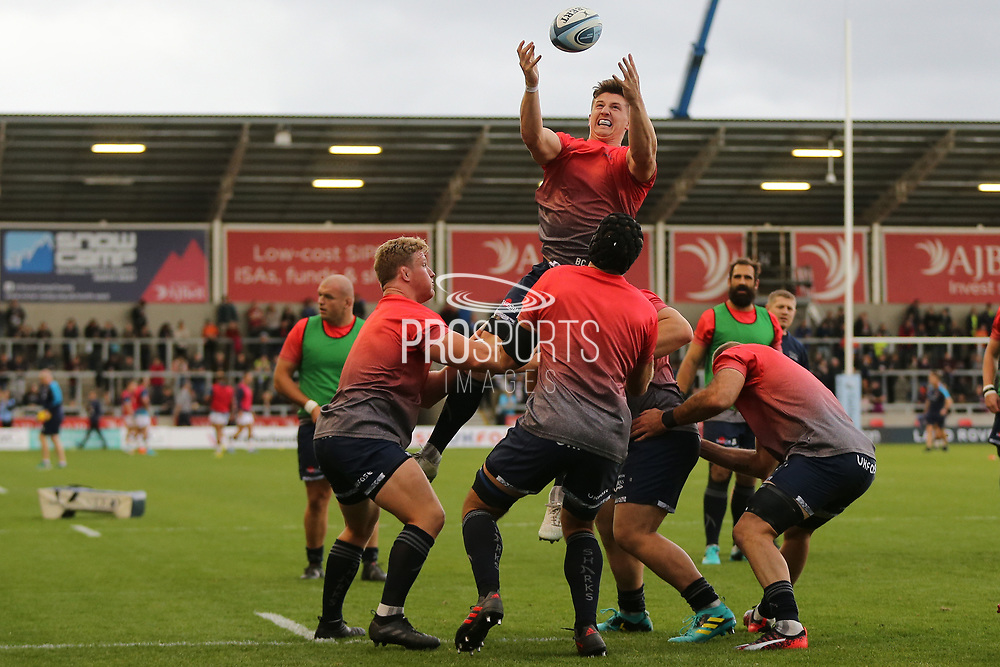 Sale line out practice before the Gallagher Premiership Rugby match between Sale Sharks and Worcester Warriors at the AJ Bell Stadium, Eccles, United Kingdom on 9 September 2018.