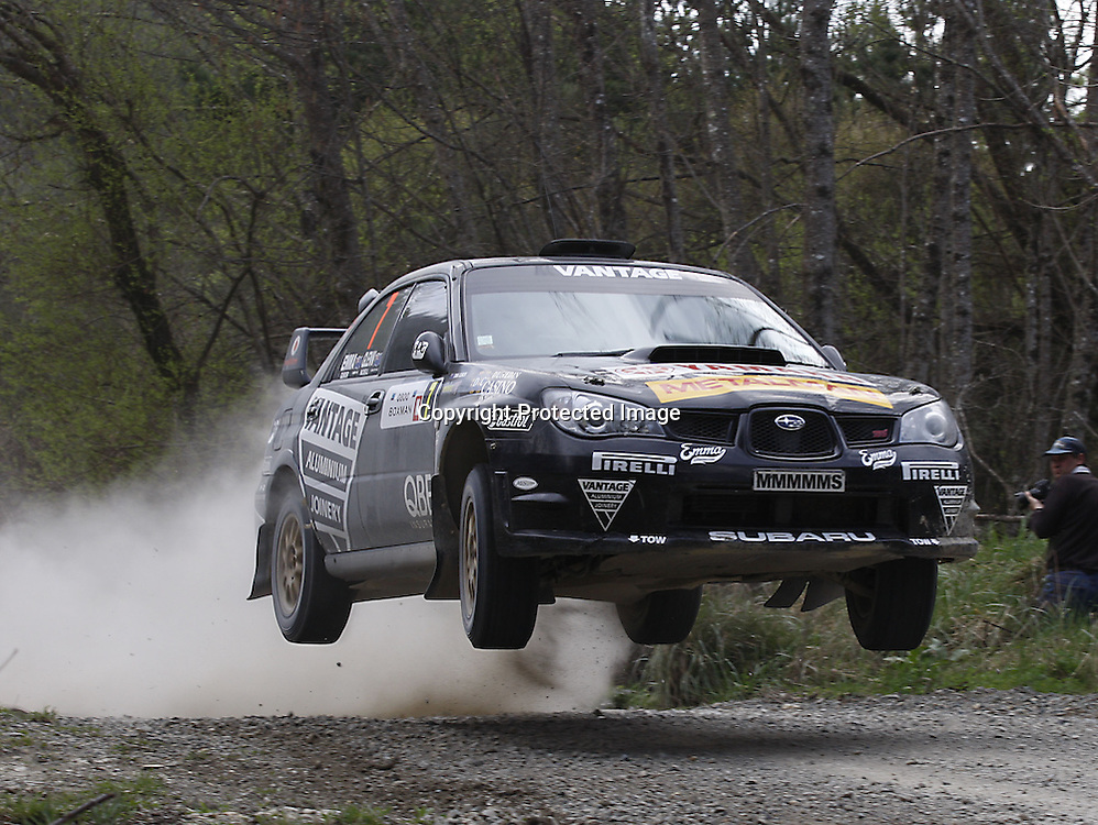 Emma Gilmour and Glen Macneall with their Subaru Impreza in action in the 0800 Boxman Rally of Nelson on Sunday, 21 September 2008. Photo: PHOTOSPORT