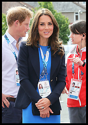 Image licensed to i-Images Picture Agency. 29/07/2014. Glasgow, United Kingdom. The Duchess of Cambridge and Prince Harry arriving at Hampden Park, Glasgow along with the Duke of Cambridge to watch the Athletics competition  on day six of the Commonwealth Games.  Picture by Stephen Lock / i-Images