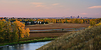 Sunrise over downtown Calgary and the Bow River....©2008, Sean Phillips.http://www.Sean-Phillips.com