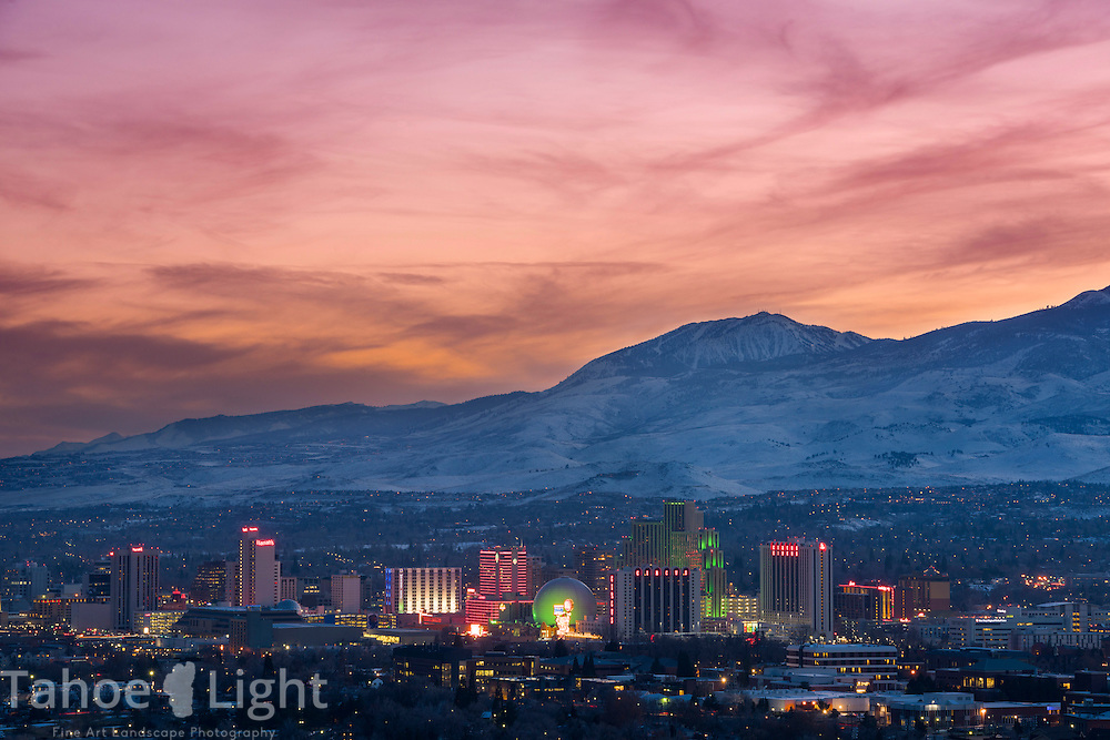 Reno, Nevada downtown skyline at sunset.