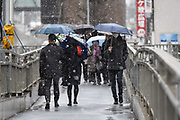People walk under the snow in Shibuya, Tokyo on Feb. 2, 2018. It started to snow from early same day due to active low atmospheric pressure advancing along the Pacific Coast. 02/02/2018-Tokyo, JAPAN