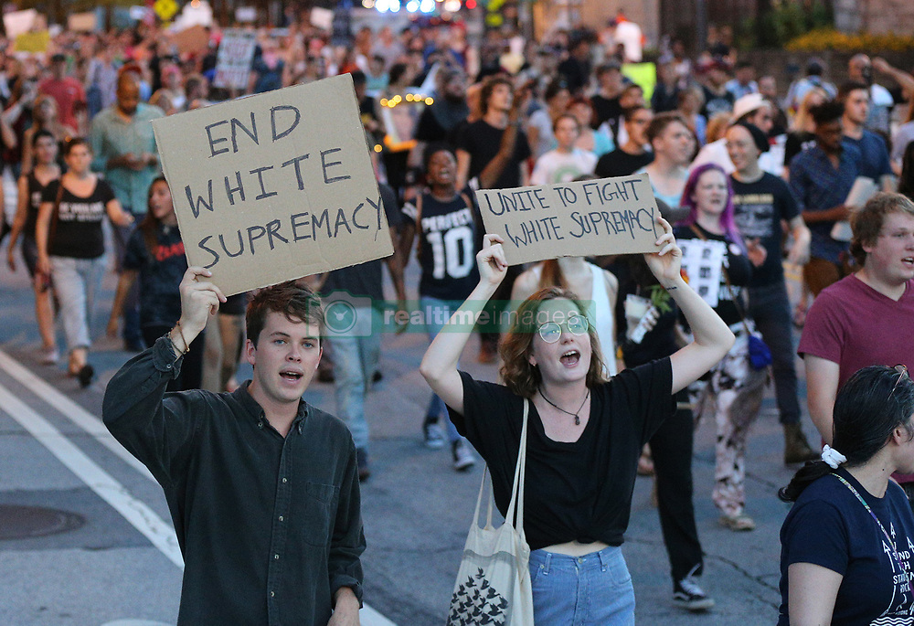 Hundreds of protesters march from Woodruff Park to Piedmont park during a anti white nationalism memorial and march in response to violence in Virginia on Sunday, Aug. 13, 2017, in Atlanta, GA, USA. Photo by Curtis Compton/Atlanta Journal-Constitution/TNS/ABACAPRESS.COM