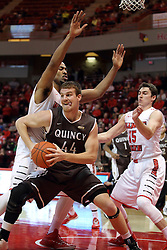 29 December 2014:  Josh Schaben, Will Ransom. Justin McCloud during an NCAA non-conference interdivisional exhibition game between the Quincy University Hawks and the Illinois State University Redbirds at Redbird Arena in Normal Illinois.
