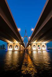 Evening view from below of Business Bay Bridge in Dubai United Arab Emirates