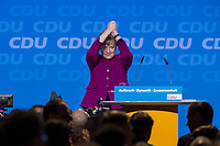 26 FEB 2018, BERLIN/GERMANY:<br /> Angela Merkel, CDU, Bundeskanzlerin, nimmt nach ihrer Rede den Applaus der Delegierten entgegen, CDU Bundesparteitag, Station Berlin<br /> IMAGE: 20180226-01-091<br /> KEYWORDS: Party Congress, Parteitag