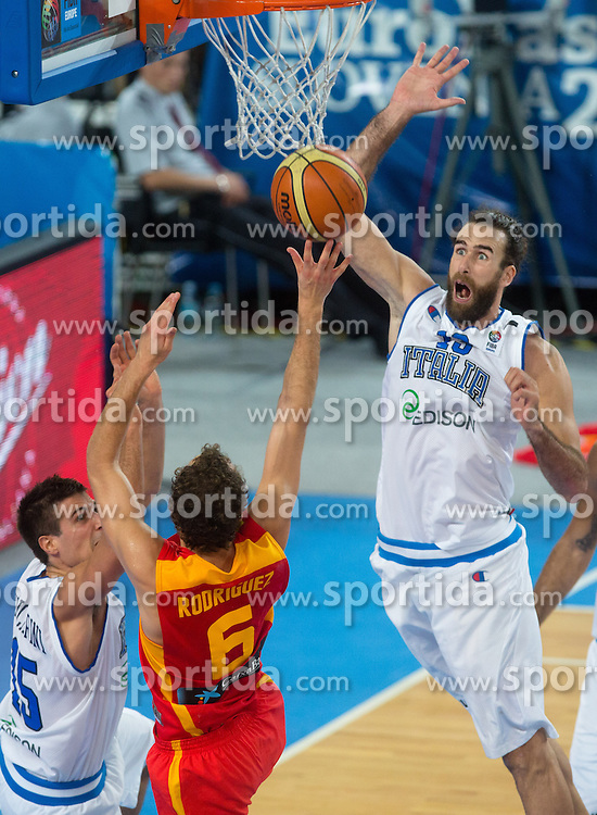 Sergio Rodriguez #6 of Spain shoots against Luigi Datome #13 of Italy during basketball match between national team of Italy and Spain at Eurobasket 2013 on September 16, 2013 in SRC Stozice, Ljubljana, Slovenia. (Photo By Matic Klansek Velej / Sportida.com)