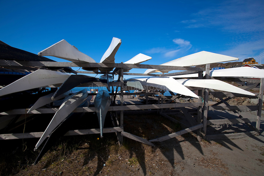 Kayak rack in the port Sisimiut, the second largest town in Greenland
