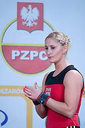 Anna Lesniewska from Poland competes during Women's Weightlifting Polish Cup 2014 in Jozefow near Warsaw on March 30, 2014.<br /> Marzena Karpinska won the first Women's Weightlifting Polish Cup.<br /> <br /> Poland, Jozefow, March 30, 2014<br /> <br /> Picture also available in RAW (NEF) or TIFF format on special request.<br /> <br /> For editorial use only. Any commercial or promotional use requires permission.<br /> <br /> Mandatory credit:<br /> Photo by &copy; Adam Nurkiewicz / Mediasport
