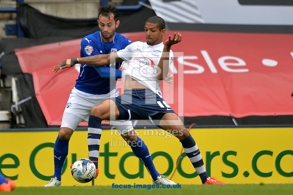 Sam Hird of Chesterfield (left) and Jermaine Beckford of Preston North End (right) during the Sky Bet League 1 playoff match at Deepdale, Preston<br /> Picture by Ian Wadkins/Focus Images Ltd +44 7877 568959<br /> 10/05/2015