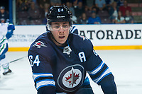 PENTICTON, CANADA - SEPTEMBER 8: Logan Stanley #64 of Winnipeg Jets against the Vancouver Canucks on September 8, 2017 at the South Okanagan Event Centre in Penticton, British Columbia, Canada.  (Photo by Marissa Baecker/Shoot the Breeze)  *** Local Caption ***