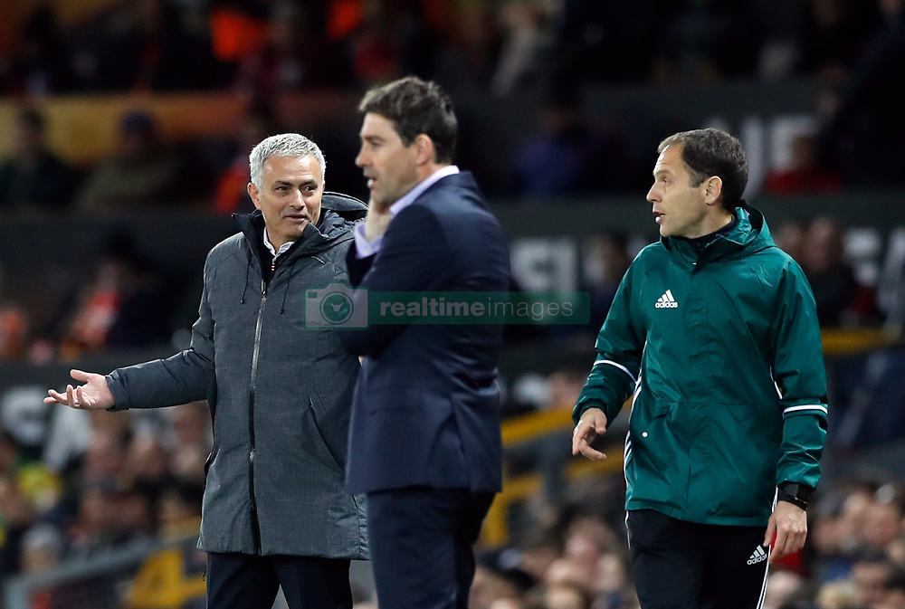 Manchester United manager Jose Mourinho gestures towards the fourth official during the UEFA Europa League, Quarter Final match at Old Trafford, Manchester.
