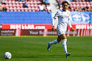 Leeds United forward Helder Costa (17) passes the ball during the EFL Sky Bet Championship match between Wigan Athletic and Leeds United at the DW Stadium, Wigan, England on 17 August 2019.