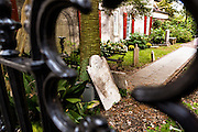 Cemetery behind the French Huguenot Church in the French Quarter in historic Charleston, SC.