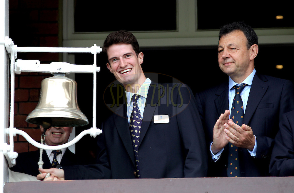 © Andrew Fosker / Seconds Left Images 2012 - Shooter Peter Wilson (L) (with Derek Brewer, the chief executive of the MCC right) who won Britain's fourth gold medal of the London Olympics with victory in the double trap competition rings the 5 minute bell at Lord's  England v South Africa - 3rd Investec Test Match - Day 2 - Lord's Cricket Ground - 17/08/2012 - London - UK - All rights reserved