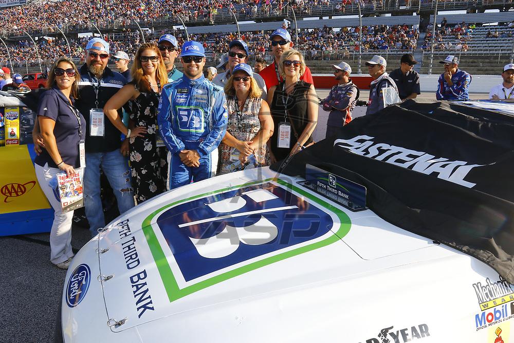 September 03, 2017 - Darlington, South Carolina, USA: Ricky Stenhouse Jr (17) meets with guest before the Bojangles' Southern 500 at Darlington Raceway in Darlington, South Carolina.