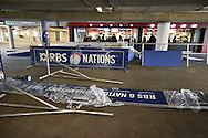 The winner's podium being trial assembled in the event that England win the championship today. Seen before the RBS 6 Nations match at Twickenham Stadium, Twickenham<br /> Picture by Andrew Tobin/Focus Images Ltd +44 7710 761829<br /> 21/03/2015