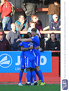 Ross Lafayette goal celebration during the Vanarama National League match between Cheltenham Town and Eastleigh at Whaddon Road, Cheltenham, England on 17 October 2015. Photo by Antony Thompson.