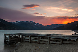 """Donner Lake Sunset 22"" - Photograph of a dock along the shot of Donner Lake in Truckee, California at sunset."