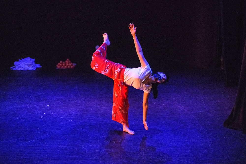 Tech rehearsal of Baltimore modern dance company The Collective's annual concert &quot;Senses&quot; at the Baltimore Theatre Project April 17, 2018. <br /> &quot;Luckily, I did,&quot; choreography by Kristen Yeung featuring Kristen Yeung with Shane Vong, Shannon Vong, and Alyssa Yeung<br /> <br /> <br /> CREDIT: Matt Roth