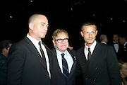 DINOS CHAPMAN; SIR ELTON JOHN;  JONATHAN SAUNDERS, Grey Goose Winter Ball to Benefit the Elton John AIDS Foundation. Battersea park. London. 29 October 2011. <br /> <br />  , -DO NOT ARCHIVE-© Copyright Photograph by Dafydd Jones. 248 Clapham Rd. London SW9 0PZ. Tel 0207 820 0771. www.dafjones.com.