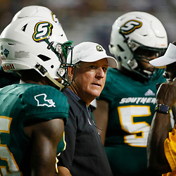 Sep 8, 2018; Baton Rouge, LA, USA; Southeastern Louisiana Lions head coach Frank Scelfo against the LSU Tigers during the second half of a game at Tiger Stadium. LSU defeated Southeastern 31-0. Mandatory Credit: Derick E. Hingle-USA TODAY Sports