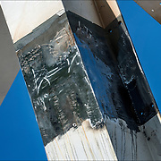 Welded joint on assembled onsite 18-foot white canopy sculpture on AIDS Memorial.