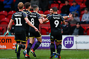 Wimbledon midfielder Andy Barcham (17) scores a goal and celebrates to make the score 0-1 during the The FA Cup 3rd round match between Fleetwood Town and AFC Wimbledon at the Highbury Stadium, Fleetwood, England on 5 January 2019.