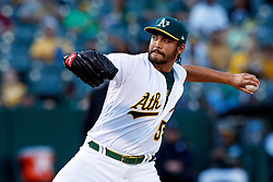 OAKLAND, CA - SEPTEMBER 21:  Sean Manaea #55 of the Oakland Athletics pitches against the Texas Rangers during the first inning at the RingCentral Coliseum on September 21, 2019 in Oakland, California. The Oakland Athletics defeated the Texas Rangers 12-3. (Photo by Jason O. Watson/Getty Images) *** Local Caption *** Sean Manaea