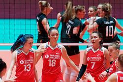 10–01-2020 NED: Olympic qualification tournament women Turkey - Belgium, Apeldoorn<br /> Last poule match Turkey and Belgium for qualifying semi finals / Meryem Boz #13 of Turkey, Zehra Gunes #18 of Turkey, Hande Baladin #7 of Turkey