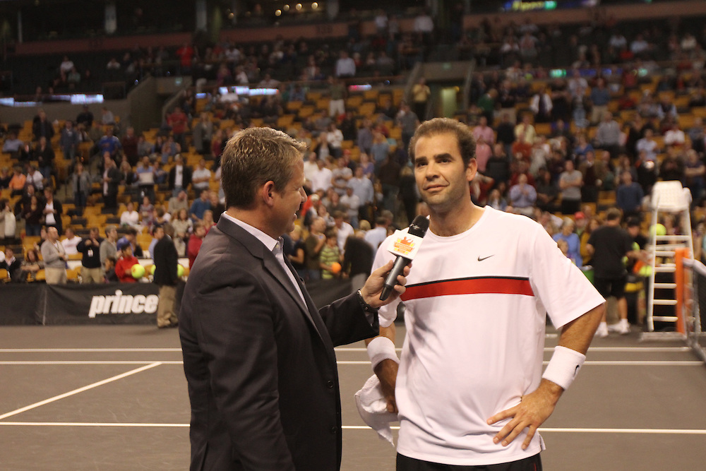 October 19, 2012, Boston, MA:<br /> Pete Sampras during the PowerShares tennis series at the Boston Garden in Boston, Massachusetts October 19, 2012.<br /> (Photo by Billie Weiss/Boston Red Sox)