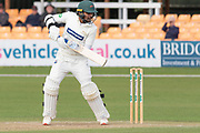 Hassan Azad moves to 50 during the Specsavers County Champ Div 2 match between Leicestershire County Cricket Club and Lancashire County Cricket Club at the Fischer County Ground, Grace Road, Leicester, United Kingdom on 26 September 2019.