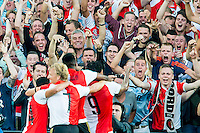 ROTTERDAM - Feyenoord - FC Utrecht , Voetbal , Seizoen 2015/2016 , Eredivisie , Stadion de Kuip , 08-08-2015 , Supporters vieren het doelpunt van Speler van Feyenoord Colin Kazim-Richards (r)