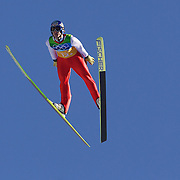 Winter Olympics, Vancouver, 2010.Thomas Morgenstern, Austria, winning a Gold Medal with his team in the Ski Jumping Team final event at Whistler Olympic Park , Whistler, during the Vancouver Winter Olympics. 22nd February 2010. Photo Tim Clayton