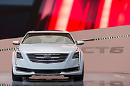 "Manhattan, New York, USA. April 12, 2017.  2017 White Cadillac Touring 6, CT6, is on display at the New York International Auto Show, NYIAS, during the first Press Day at the Javits Center. About two Press Conferences were held each hour at the annual event ""Where the auto industry gathers to unveil the future."""