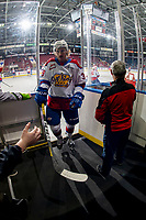 KELOWNA, BC - NOVEMBER 26: Ethan McIndoe #39 of the Edmonton Oil Kings exits the ice after warm up against the Kelowna Rockets  at Prospera Place on November 26, 2019 in Kelowna, Canada. (Photo by Marissa Baecker/Shoot the Breeze)