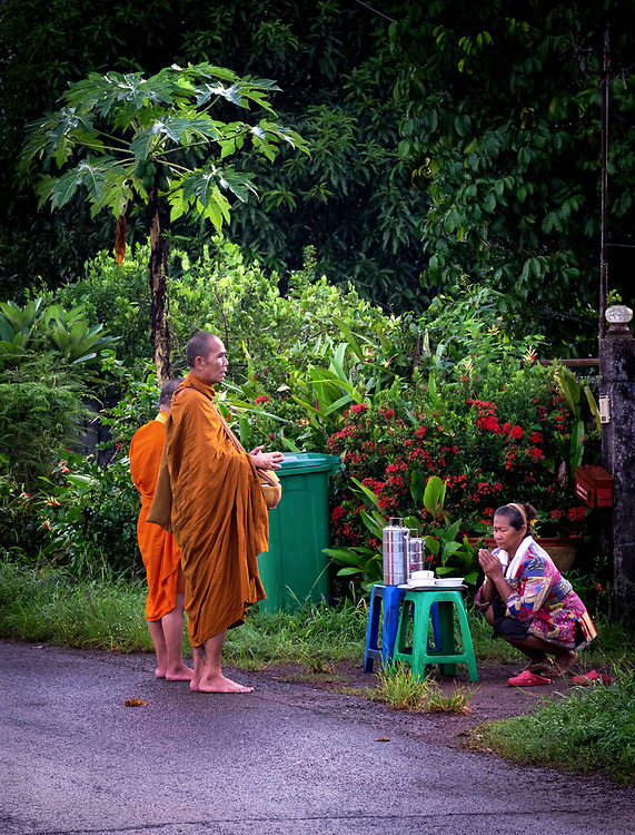 Morning Alms in Nakhon Nayok, Thailand