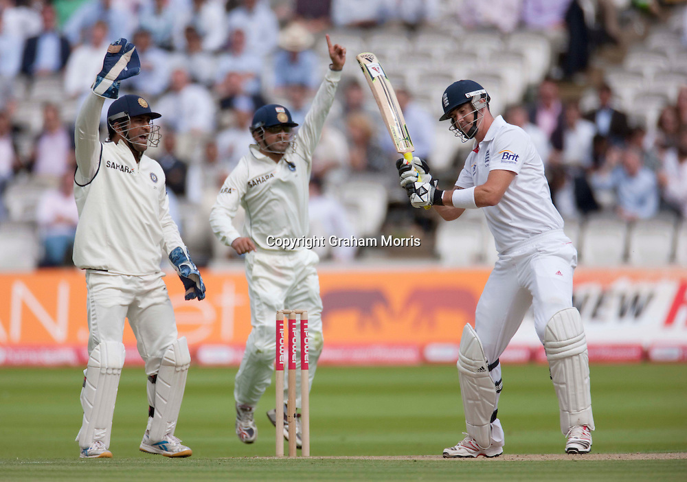 Kevin Pietersen not out after reverse sweeping Harbhajan Singh during the first npower Test Match between England and India at Lord's Cricket Ground, London.  Photo: Graham Morris (Tel: +44(0)20 8969 4192 Email: sales@cricketpix.com) 22/07/11