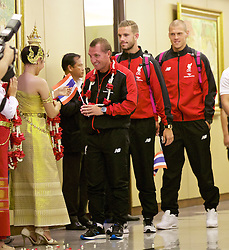 BANGKOK, THAILAND - Monday, July 13, 2015: Liverpool's manager Brendan Rodgers, new captain Jordan Henderson and Martin Skrtel at Bangkok's Suvarnabhumi Airport as the team arrive in Thailand for the start of the club's preseason tour. (Pic by David Rawcliffe/Propaganda)
