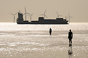 "A container ship passes Crosby Beach into the Irish Sea, after leaving Liverpool on the river Mersey.  Two sculptures by the artist Sir Antony Mark David Gormley, OBE look on, positined as they are for his landscape artwork, ""Another Place"""