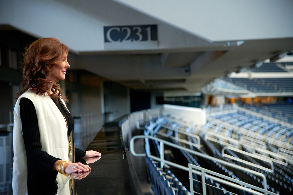 Charlotte Jones Anderson looks out over the field at AT&T Stadium in Arlington, Texas on December 12, 2017. (Cooper Neill for The New York Times)